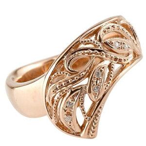 ダイヤモンドリング ダイヤモンド リング 婚約指輪 エンゲージリング ピンクゴールドk18 ブライダルリング アンティーク 透かし ダイヤモンド リング 指輪 ダイヤ アラベスク ミル打ち 幅広