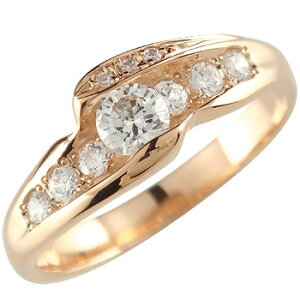ダイヤモンド ピンクゴールドk18 リング 婚約指輪 エンゲージリング18k 18金【楽ギフ_包装】【コンビニ受取対応商品】 大きいサイズ対応 送料無料