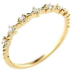 イエローゴールドk18 ダイヤモンドリング ダイヤ シンプル ピンキーリング 指輪 華奢リング 重ね付け 指輪 細め 細身 18金 アンティーク ティアラ 重ねづけ リング レディース【楽ギフ_包装】