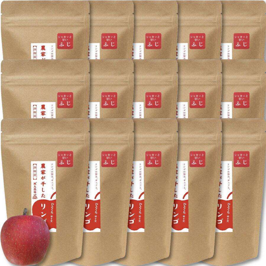 【送料無料】農家が干したリンゴ〈ふじ〉ひとくちサイズ 40g お得な15袋セット