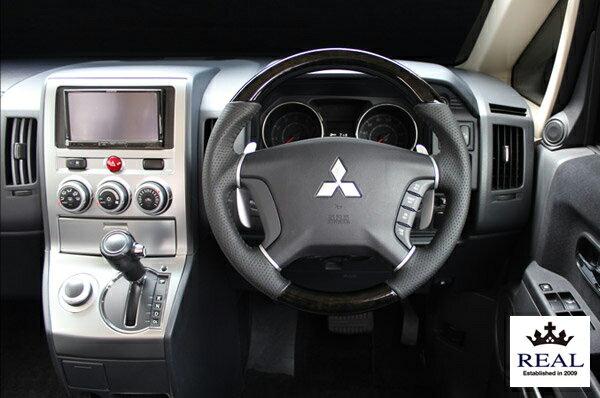 【 パジェロ V83W, V88W, V93W, V98W用 】 レアル ステアリング オリジナルシリーズ (ブラックウッド) 品番: D5-BKW-BK (REAL Steering 純正交換タイプ)