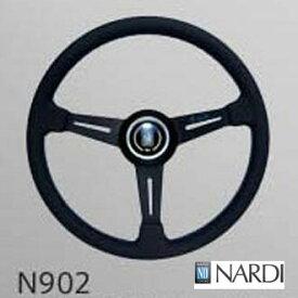 【 限定ブルーロゴモデル 】 NARDI CLASSIC 360 ブラックレザー (36φスムースレザー/ブラックスポーク/パラレルステッチ) 品番: N902 (ナルディ クラシック) ※送料無料 (沖縄県および離島は除く)