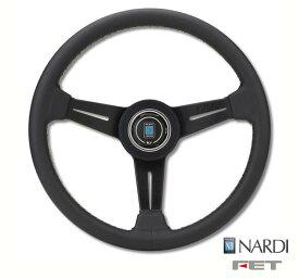 [ FET NARDI CLASSIC LEATHER 36φ ] 360mm スムースレザー ブラックレザー/ブラックスポーク 品番: N130 (FET 正規品 ナルディ クラシック レザー) ※送料無料 (沖縄県および離島は除く)