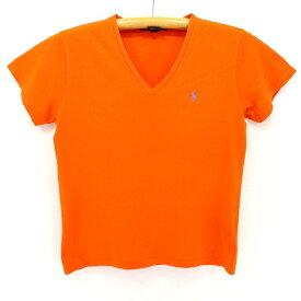 2000s レディース ラルフローレンVネックTシャツ★Sサイズ オレンジ プレゼント ギフト