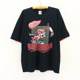 古着 90s NHLレッドウイングスプリントTシャツ★XLサイズ Lサイズ 大きいサイズ プレゼント ギフト