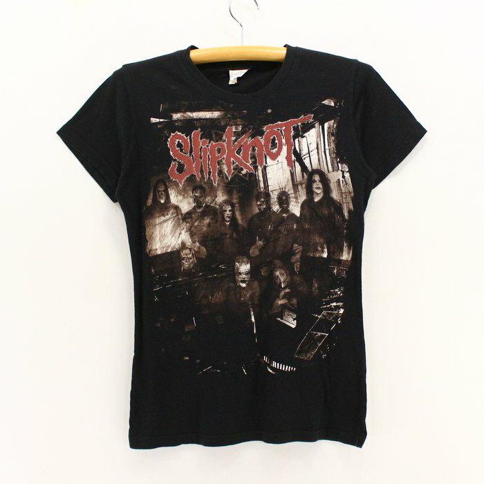 2000sスリップノットレディースプリントロックTシャツ★★★ブラックベース黒Sサイズ