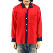 60sヴィンテージ長袖レーヨンシャツ★★★レッド×ネイビー赤紺XLサイズ