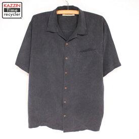 古着 Tommy Bahama 半袖 シルクシャツ★XLサイズ ブラック プレゼント ギフト