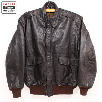 4db24cda062 Leatherette jacket ☆ large size brown Christmas present gift A-2-like for  old clothes 80s