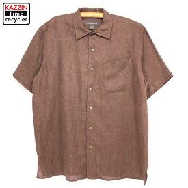 古着 BANANA REPUBLIC リネンシャツ★XLサイズ ブラウン プレゼント ギフト