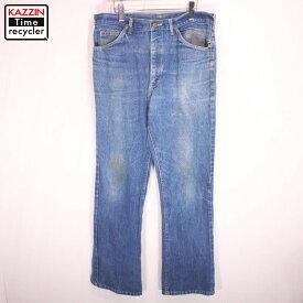 古着 80s Lee 202 ブーツカット デニムパンツ★Lサイズ W35 ブルー