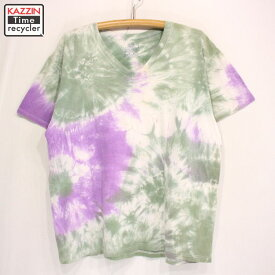 古着 2000s FRUIT OF THE LOOM タイダイ 半袖Tシャツ ★ Lサイズ グリーン パープル