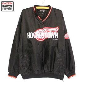 古着 NHL デトロイトレッドウィングス プルオーバー ジャケット★XLサイズ ブラック