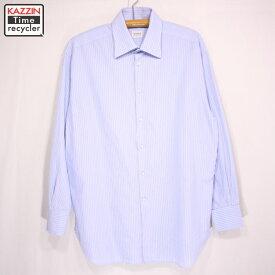 ARMANI COLLEZIONI ストライプ長袖シャツ 古着 ★ XLサイズ ブルー