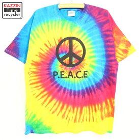 2000s HANES PEACEマーク タイダイTシャツ 古着 ★ XLサイズ