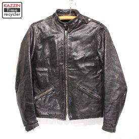 60s BROOKS レディース ヴィンテージ シングル ライダースジャケット 古着 ★ Mサイズ ブラック