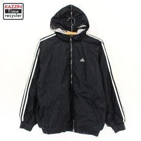 古着 adidas リバーシブル ナイロン パーカー 古着 ★ ボーイズ XLサイズ ブラック グレー