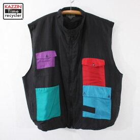 90s クレイジーパターン シルク ベスト 古着 ★ 表記3Xサイズ ブラック