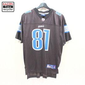 2000s NFL デトロイト・ライオンズ カルビン・ジョンソン #81 ゲームジャージ Reebok製 アメフト 古着 ★ ボーイズ Lサイズ ブラック