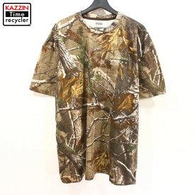 古着 RUSSELL リアルツリーカモ 総柄 半袖 ビッグTシャツ ★ XLサイズ