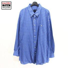 90s USA製 バーバリー チェック柄 ビッグサイズ 長袖 シャツ カッターシャツ 古着 ★ 表記4XL ブルー
