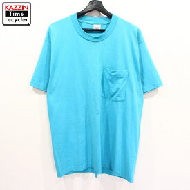 90s USA製 BVD ポケット付き 半袖 無地 Tシャツ 古着 ★ 表記Lサイズ ブルー ぽっきり