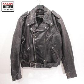 80s USA製 BROOKS ブルックス ダブル ライダース ジャケット ライナー付き 古着 ★ 表記46サイズ ビックサイズ 大きいサイズ ブラック