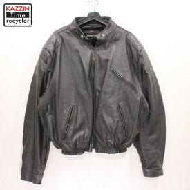 80s USA製 ブルックス レザー ライダース ジャケット ライナー付き モトクロス 古着 ★ 表記56サイズ ビックサイズ 大きいサイズ ブラック