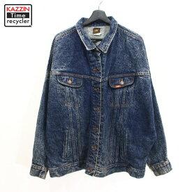 80s USA製 Lee レディース デニム ジャケット ポケット付き 古着 ★ 表記Lサイズ ビックサイズ 大きいサイズ ネイビー