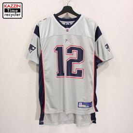 古着 NFL ニューイングランド・ペイトリオッツ レプリカユニフォーム ゲームジャージ #12 トム・ブレイディ Reebok製 アメフト ★ ユース表記XLサイズ グレー ネイビー