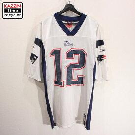 古着 NFL ニューイングランド・ペイトリオッツ レプリカユニフォーム ゲームジャージ #12 トム・ブレイディ Reebok製 アメフト ★ 表記Lサイズ ホワイト ネイビー