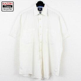 90s USA製 バーバリー Burberry 無地 半袖シャツ 古着 ★ 表記Lサイズ ホワイト