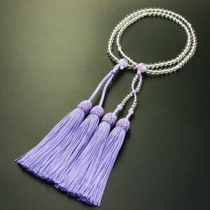 数珠・念珠『送料無料!浄土真宗八寸本水晶・藤雲石仕立て(女性向き)』