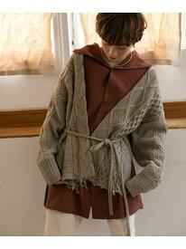 [Rakuten Fashion]カシュクールアランカーディガン KBF ケービーエフ ニット カーディガン グレー ホワイト ブラウン【送料無料】