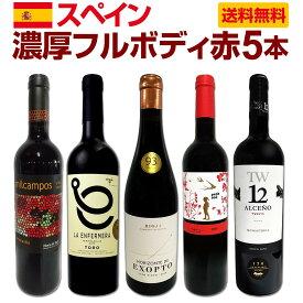 【送料無料】たっぷりコク旨!!スペイン濃厚フルボディ赤ワイン5本セット!!