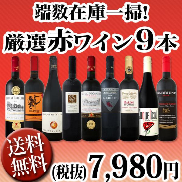 【送料無料】100セット限り★端数在庫一掃★赤ワイン9本セット!
