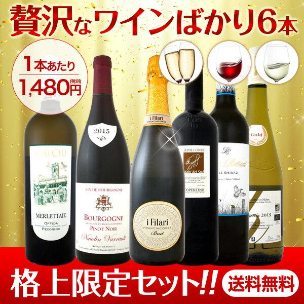 【送料無料】格上限定!1本当たり1480円(税別)!ちょっと贅沢なワインばかりを集めた絶対オススメ6本!!