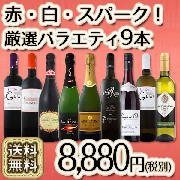 【送料無料】当店No.1スパークも!特大感謝の大満足ワイン赤白泡9本セット!