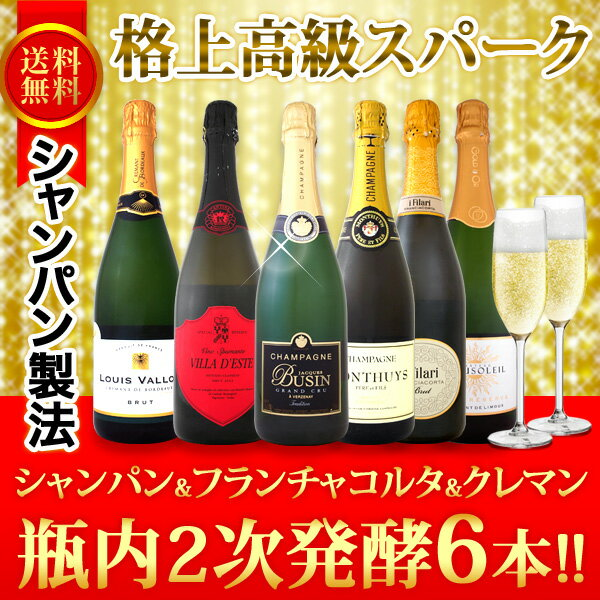 【送料無料】豪華≪泡好きは絶対に見逃せない!!≫格上高級スパークリング!シャンパンもフランチャコルタもクレマンも入った必見の瓶内2次6本!