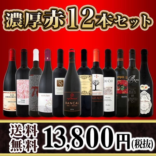 【送料無料】濃厚赤ワイン三昧12本セット!世界中の濃厚赤ワインだけをセレクト!