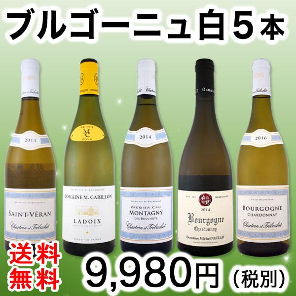 【送料無料】プルミェ・クリュ&銘醸ラドワ入り★厳選ブルゴーニュ白ワイン5本セット!