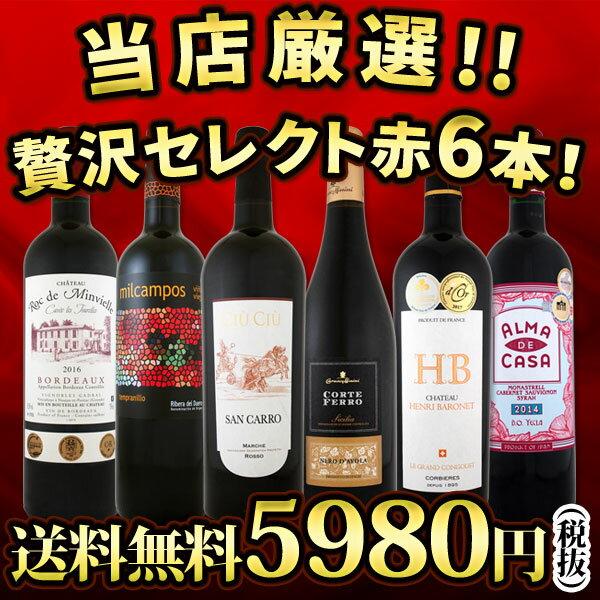 【送料無料】第79弾!当店厳選!これぞ極旨赤ワイン!『大満足!充実の飲み応え!』贅沢なスーパー・セレクト赤6本セット!