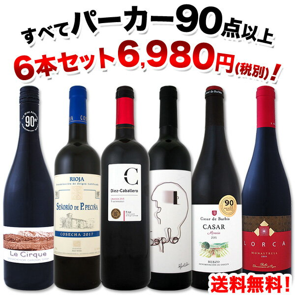 赤ワイン フルボディ セット 【送料無料】第60弾!すべてパーカー【90点以上】赤ワインセット 6本!