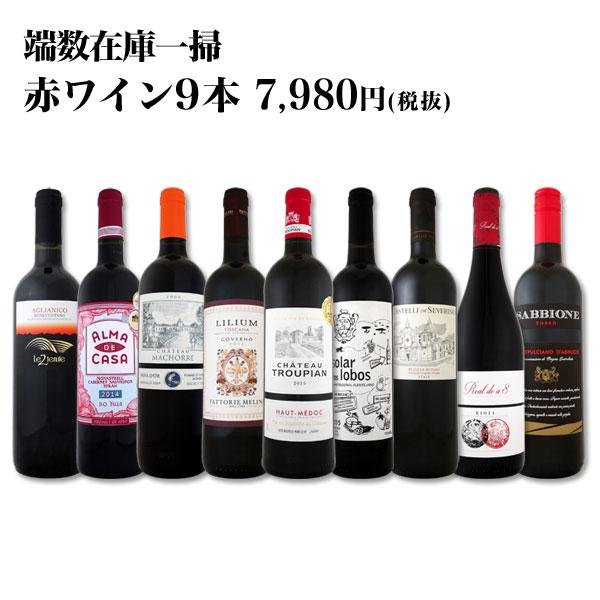 【送料無料】端数在庫一掃★赤ワイン9本セット!