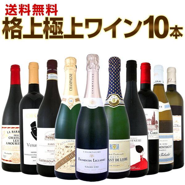 [クーポンで10%OFF]【送料無料】特級シャンパンも!シャサーニュも!バローロも!格上極上ワインばかり10本セット!