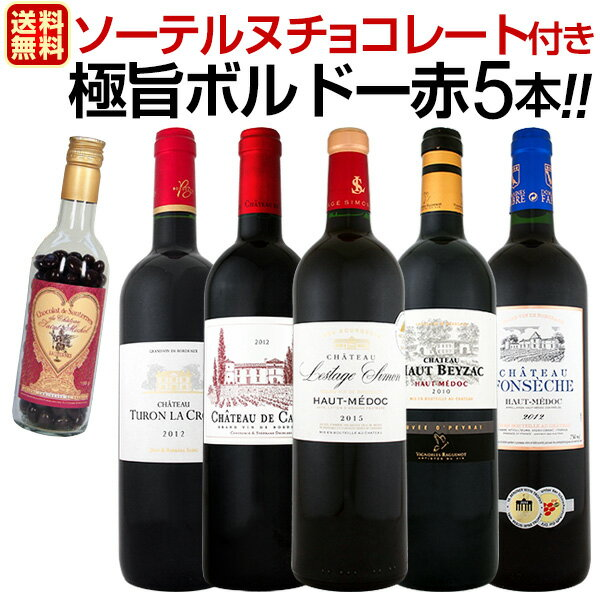 ≪ソーテルヌチョコレート付き≫ワンランク上の極旨ボルドー赤5本セット!!