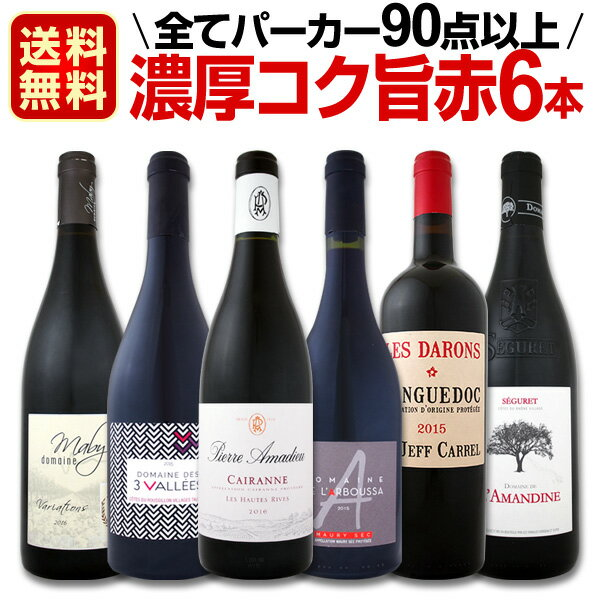 【送料無料】全てフランス極旨!全てパーカー90点以上!濃厚コク旨赤ワイン6本セット!