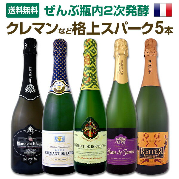 [クーポンで10%OFF]【送料無料】ぜんぶ瓶内2次発酵!ぜんぶフランス!クレマンなど格上スパークリング5本!