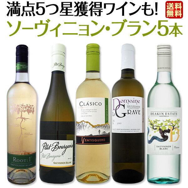 [クーポンで10%OFF]【送料無料】満点5つ星獲得ワインも入って、爽快さわやかなソーヴィニョン・ブラン厳選5本!!