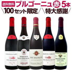 【送料無料★100セット限り】特大感謝のブルゴーニュ赤ワイン大放出5本セット!!